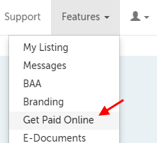 Get Paid Online, fifth item in the drop-down