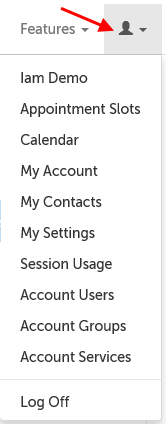 Account settings menu for an admin