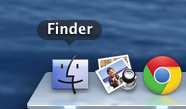 Screencap showing where to open a new Finder window