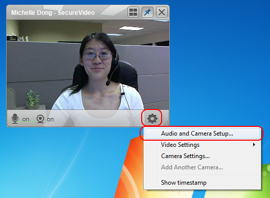 Screencap showing where to find the Audio and Camera Setup on a Windows computer