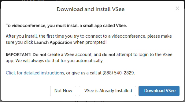 Download and Install VSee message