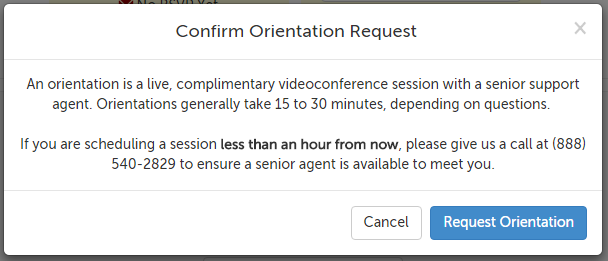 Request orientation