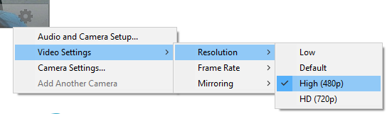 Screencap showing the path to changing your video resolution