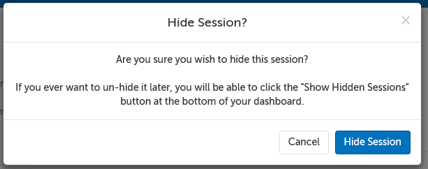 Hide Session button