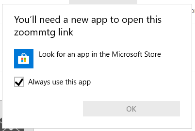 You'll need a new app to open this zoommtg link