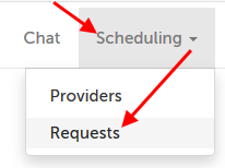 Scheduling tab, Requests subtab