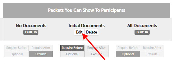 "Edit button below the ""Initial Documents"" example packet"