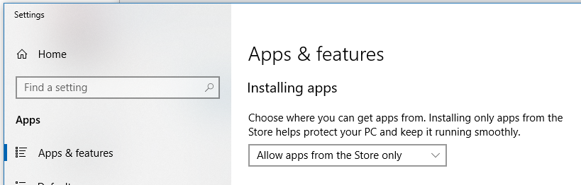 Installing apps: Choose where you can get apps from. Installing only apps from the Store helps protect your PC and keep it running smoothly. Selected: Allow apps from the Store only